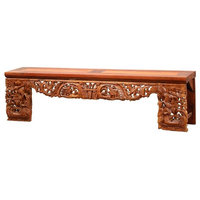 """85"""" Brunilde Bench One of a Kind Hand Crafted Old Teak Wood Hand Carved"""
