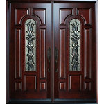 """BGW Doors - Exterior Front Entry Double Wood Door M280A 36"""" x80"""" X2, Right Hand Swing In - This door is factory pre-hung and pre-finished, mahogany wood, 73 1/4"""" wide by 81"""" tall and has a 5 1/4"""" jamb, comes with interior casing and exterior brick molding, triple glazed glass, black caming, raised moulding on both sides. available in left hand swing in, the hardware is not included. This is a right hand swing in door."""