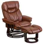 Offex - Offex Vintage Leather Recliner and Ottoman With Swiveling Mahogany Wood Base - Description: