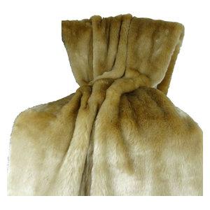 "Plutus Tissavel Taupe Faux Fur Handmade Bedspread, 80""x110"""