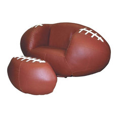 Ore International - Football Kids Chair u0026 Ottoman Set in Brown Finish - Kids Chairs  sc 1 st  Houzz & 50 Most Popular Kids Football Chair And Ottoman Set for 2018 | Houzz