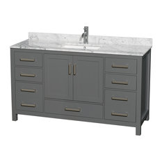 "Sheffield 60"" Single Vanity, Dark Gray, Carrara Marble Top, Sink & No Mirror"