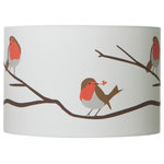 Lorna Syson - Robin Songbird Lampshade, Large - The large Robin Songbird Lampshade is inspired by regular visits from Robins in the designer's childhood garden. The familiar and endearing bird can be seen throughout the year in country hedgerows, adding vivid spots of cheerful colour to the countryside. With this cushion, you can bring the charm of this delightful bird indoors. And as there is a reversible gimble on the interior of the shade, it can be used either as a table or floor lamp, or as a ceiling light. Lorna Syson founded her studio in 2009, specialising in home decor that draws its inspiration from the stunning English countryside.