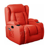 Modern Swivel Recliner Chair in Winged Leather With Armchair and Rocking Massage