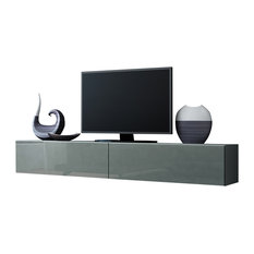 VIGO High Gloss TV Stand, Gray/Gray   Entertainment Centers And Tv Stands