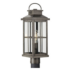 Williamston 1-Light Antique Pewter Etched Seeded Glass Modern Outdoor Post Light