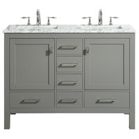"Eviva Aberdeen 48"" Gray Transitional Double Sink Bathroom Vanity w/ White Carrar"