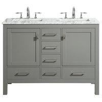 "Eviva Aberdeen 48"" Gray Transitional Double Sink Bathroom Vanity w/ White Carrar"
