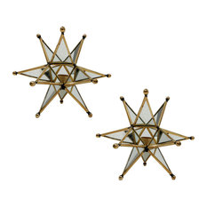"""Star Candle Holder 7""""x4""""x7"""", Set of 2"""