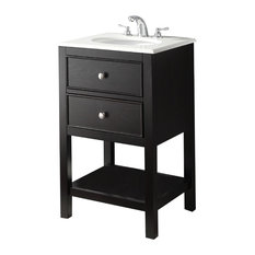 Simpli Home Ltd Wilmington 20 Bath Vanity Black With Ay White Quartz