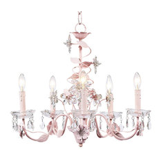 5-Arm Pink Crystal Flower Chandelier
