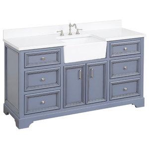 "Zelda Bathroom Vanity, Powder Gray, 60"", Top: Quartz, Single Sink"