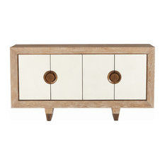 MidCentury Driftwood Brass Media Cabinet Solid Wood Modern White Console