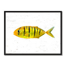"Yellow Tropical Fish Painting, 28""x37"""