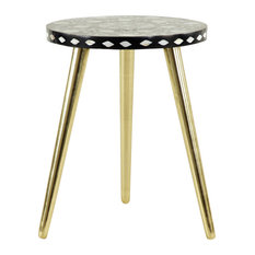 Round Black Wood Accent Table With White Shell Detail And Gold Metal Base