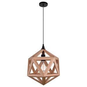 Lante 1-Light Pendant, Black, Wood