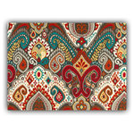 """Joita, llc - Boho Burst Red Indoor/Outdoor Placemats, Finished Edge, Set of 2 - Set of 2 - BOHO BURST (red) is a paisley-type print in deep jewel tones of teal, red, orange, yellow orange, gray, turquoise, taupe and white. Constructed with outdoor rated fabric and thread. Printed pattern on polyester fabric. To maintain the life of the placemat, bring indoors or protect from the elements when not in use. Machine washable cold, delicate. Lay flat to dry. Do not dry clean. Set of two placemats, 13"""" x 17 3/4"""" each."""