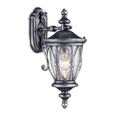 Silver Lantern Outdoor Downwards Wall Light