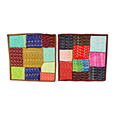 Mogul Interior - 2 Home Decorative Indian Handmade Cotton Cushion Cover Patchwork Embroidered 16 - Decorative Pillows