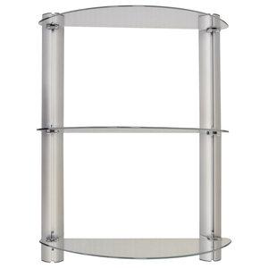 Splash 3-Tier Glass Adjustable Bathroom Wall Shelf, Silver