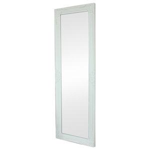 Tall / Long White Ornate Wall / Leaner Mirror 47cm x 142cm