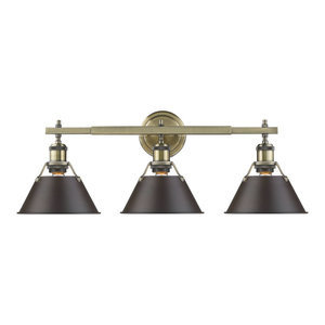 Orwell 3-Light Bath Vanity, Aged Brass With Rubbed Bronze Shade