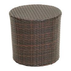 GDFStudio - Overton Outdoor Wicker Barrel Side Table, Brown - Outdoor Side Tables