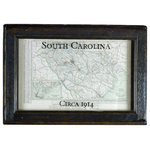 Second Chance Art & Accessories - Framed Antique South Carolina Map - This authentic vintage map of South Carolina is from a 1916 atlas, not a reproduction!  The map has a printed date of 1914. The map is mounted beneath a vintage window, refinished with dark stain.  The map title and date have been hand painted onto the glass.  The map is printed in lovely muted colors with pale green water tones.  The frame has an interesting stepped back bevel around the outside edge - indicating its former use as a storm window insert.  Add this piece to your home or office for instant history!