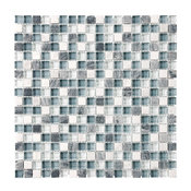 """Bliss BSW58 Stone and Glass Square Mosaic Tile, 12""""x12"""""""