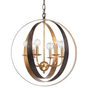 Crystorama Luna 6 Light Bronze & Gold Sphere Large Chandelier