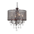 Marya 4-Light Oil Rubbed Bronze Round Beaded Drum Chandelier/Hanging Crystals