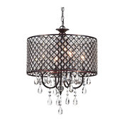 Marya 4-Light Oil Rubbed Bronze Round Beaded Drum Chandelier Crystals Glam
