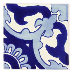 "Tierra y Fuego Handmade Ceramic Tile, 4.25x4.25"" Blue Capri, Box of 45"