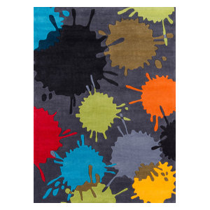 Lil Mo Hipster Polyester, Hand-Tufted Rug, Gray, 5'x7'