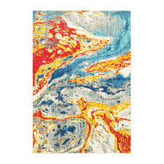 """Jillian Bold Abstract Waves Stone and Multi Area Rug, 9'10""""x12'10"""""""