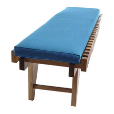 Uno Bench With Removable Cushion, Blue Fine Weave