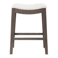 Elevated Upholstered Counter Stool Rustic Java Brown
