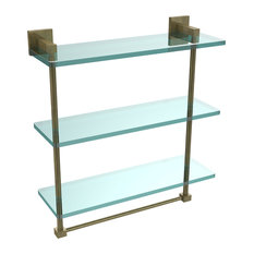 """Montero Collection 16"""" Triple Tiered Glass Shelf With integrated towel bar"""