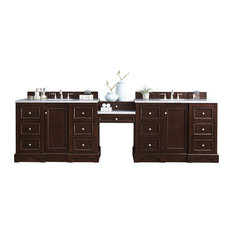 """118"""" Double Vanity Set Burnished Mahogany w/ Makeup Table 3 CM Arctic Fall Top"""