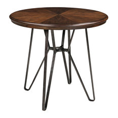 Centiar Round Dining Room Counter Table Casual Style Two-Tone Brown