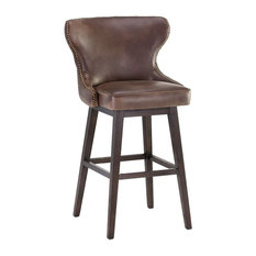 Havana Dark Brown Leather Stool, Bar