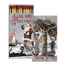 Retro Vintage Style Surfing Santa Matches, Set of 10 Coastal Christmas