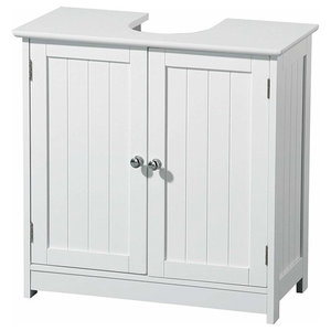 Traditional Under Sink Cabinet, White MDF With 2-Door and Inner Shelves