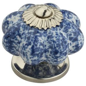 """GlideRite 1-3//4"""" Round White /& Grey Melon Stone Ceramic Cabinet Knob 260101-1"""
