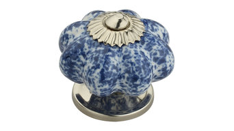 "Blue Blossom On White 1-7/10"", 43mm, Blue and White Cabinet Knob"