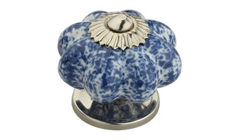 """Blue Blossom On White 1-7/10"""", 43mm, Blue and White Cabinet Knob"""