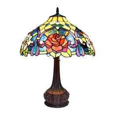 "ERIN, Tiffany-style 2 Light Roses Table Lamp, 18"" Shade"