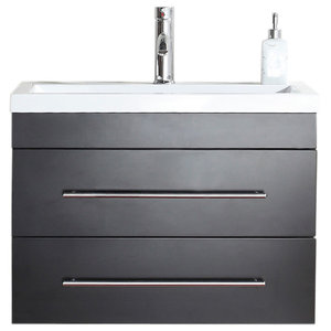 Emotion Mars 700 Bathroom Furniture, White High-Gloss, 70 cm, Black Semi-Gloss