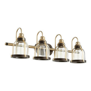 Quorum Lighting 586-4-8086 Vanity Light, Aged Brass With Oiled Bronze