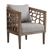 Unique Cut Out Pattern In Oak Veneer Wood Chair With Gray Seat & Pillowback